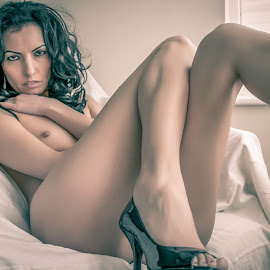 Patently by John Shaw - Nudes & Boudoir Artistic Nude ( shoes, chair, nude, window, legs )