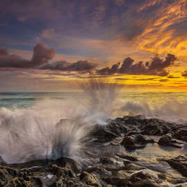 All Everywhere by Choky Ochtavian Watulingas - Landscapes Sunsets & Sunrises ( clouds, splashing, splash, sunset, waves, rocks, dusk )