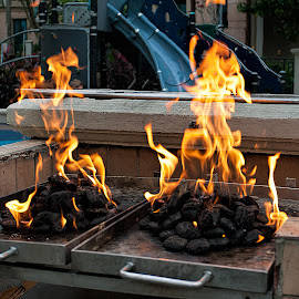 BBQ is ready by Vibeke Friis - Food & Drink Cooking & Baking ( flames, coal, bbq, fire,  )