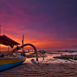 Dawn at the Sanur Beach - Bali,Indonesia. by John Chung - Transportation Boats