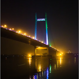 Hoogly Bridge at Night by Kallol Dutta - Buildings & Architecture Bridges & Suspended Structures