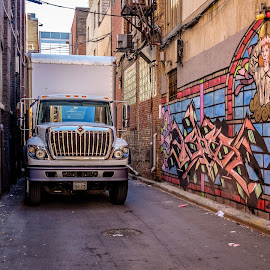 Waiting in the alley by Jack Brittain - City,  Street & Park  Street Scenes ( canada, truck, toronto, graffiti, street, ontario, alley )