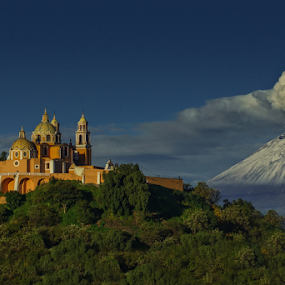 Popocatepetl and Church by Cristobal Garciaferro Rubio - Landscapes Mountains & Hills ( volcano, church, popo, snow, catolic church, popocatepetl, smoking volcano, snowy volcano, eruption, smoke )