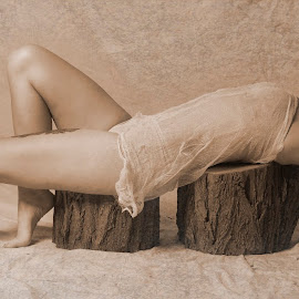 Resting by Eric Sanchez - People Portraits of Women ( laying down, beautiful woman, nude, nature, tree stump, fine art, shear, ethereal )