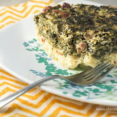 Breakfast Hashbrown Spinach & Ham Casserole