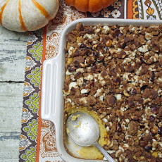 Pumpkin Souffle with Goat Cheese & Hazelnut Streusel