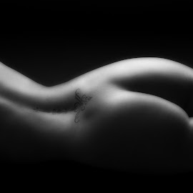 Beautiful Behind by John Gross - Nudes & Boudoir Artistic Nude ( nude, black and white, beautiful, fine art, behind, butt, tattoo, curves )