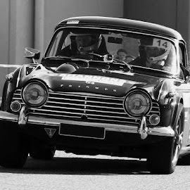 Classic Race Car by Mark Bentley - Transportation Automobiles ( rally, car, monochrome, classic car, black and white, cars, targa, road, race, classic, triumph,  )