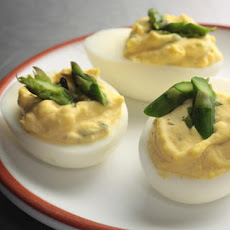 Chèvre Deviled Eggs with Asparagus Recipe