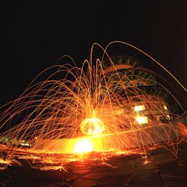 Steel wool at Pagoda by Hafidz Wahyu - Abstract Fire & Fireworks ( amazing, fisheye, pagoda, steel wool, canon eos, light, slow shutter, fire )