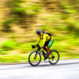Moving Cyclist by Razvan Marian - Sports & Fitness Cycling ( cyclist, blurred, moving )