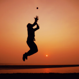 Catch it by Istiak Saikot - Sports & Fitness Cricket ( ball, sunset, joy, catch, jump )