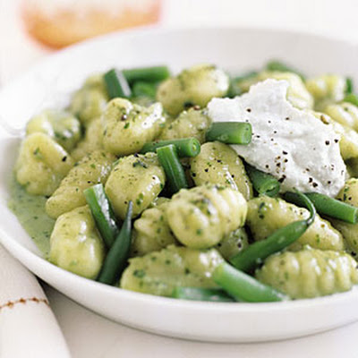 Creamy Pesto Gnocchi with Green Beans and Ricotta
