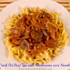Crock Pot Beef Tips and Mushrooms Over Noodles
