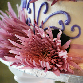 Wedding Cake Close Up by Jane Rodrigues - Wedding Reception ( reception, cake, food, wedding, icing, pink, flowers, flower,  )
