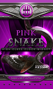 pink snake clock widget - screenshot