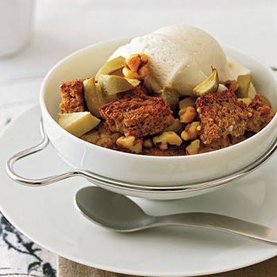 Apple and Walnut Whole-Wheat Bread Pudding