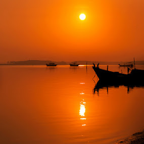 Early Morning at Jubakar, Kelantan by Nazeri Mamat - Landscapes Sunsets & Sunrises ( sunrise sunset jubakar tumpat kelantan, silhouette )