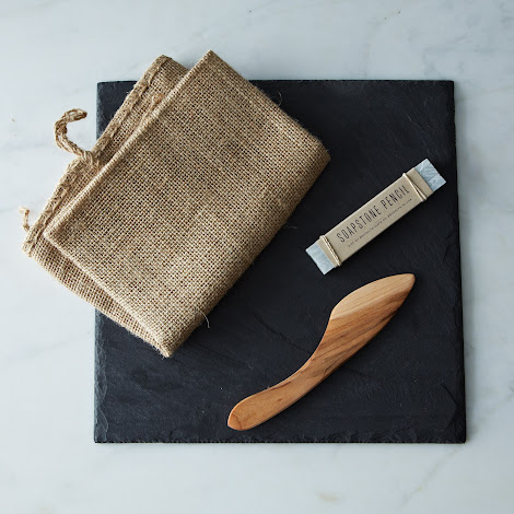 Brooklyn Slate Cheese Board, Knife and Soapstone Pencil Set