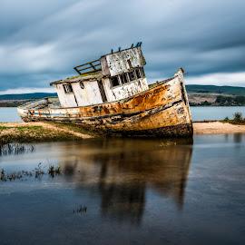 Shipwreck-Inverness by Mark Cote - Transportation Boats ( point reyes, shipwreck, point reyes national seashore, long exposure, fishing boat, bodega bay, inverness,  )