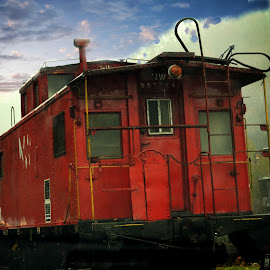 Lil Red Caboose by Linda Blevins - Transportation Trains ( red, caboose,  )
