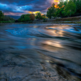 Late Evening at Truckee River in Reno, Nevada by Beau Rogers - Landscapes Sunsets & Sunrises ( water, truckee river, reno, focus stacking, nevada, leaf, close )
