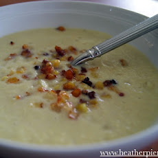 Pureed Corn Soup Topped with Roasted Corn