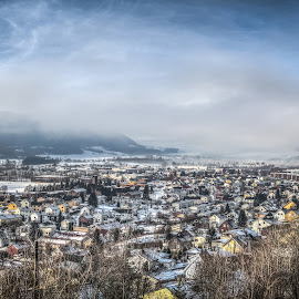 Drammen, Norway 001 by IP Maesstro - City,  Street & Park  Skylines ( clouds, skyline, winter, sky, dramen, cold, hdr, snow, maesstro, norway, city )