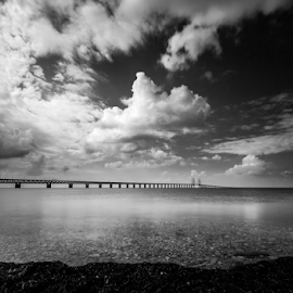 From here to eternity by Mirza Buljusmic - Landscapes Waterscapes ( clouds, canon, sweden, skåne, sea, scania, seascape, 450d, malmoe, nature, malmö, sverige, weather, öresund, malmo, bridge )