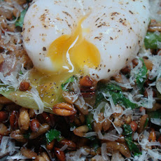 Pan Crisped Farro with Poached Egg and Spring onions
