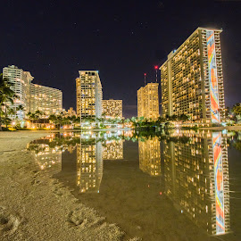 Night View of the Hilton Hawaii by Brian Bugge - Buildings & Architecture Office Buildings & Hotels ( reflection, night photography, night scene, reflections, night city, long exposure, nightscapes, hawaii, nightscape, waikiki )