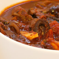 Crockpot Beef Stew with Olives, Garlic, Capers, and Tomatoes