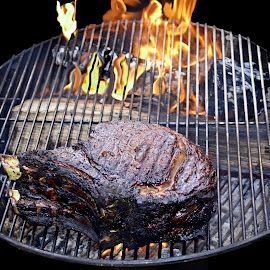 Beef by Paul Pecora - Food & Drink Meats & Cheeses ( kettle, grate, grill, beef, meat, prime rib, wood fire, fire, smoke )
