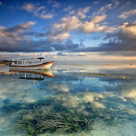 Morning Skies by Ina Herliana Koswara - Landscapes Cloud Formations ( water, reflection, waterscape, beach, boat, skies )