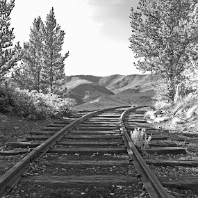 Tracks to Nowhere by Justin Giffin - Black & White Landscapes ( train tracks, mountains, black and white, colorado, landscapes, b&w, landscape,  )
