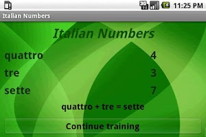 Screenshot of Learn Italian Numbers