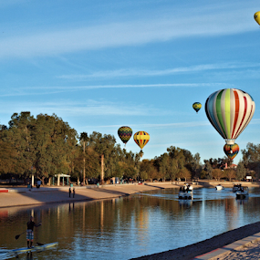 Sunday Morning Balloons by Becky McGuire - News & Events Entertainment ( desert, colorful, becky mcguire, transportation, balloon, boat, havasu, aviation, colorado river, tvlgoddess, transport, arizona, hot, air, mohave, channel, mood factory,  )