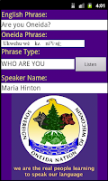 Screenshot of Oneida Language: Wisconsin