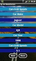 Screenshot of Cars 0-60 Speeds DB