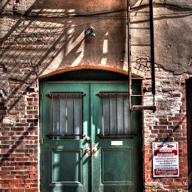 Watch your step by Barry Blaisdell - Buildings & Architecture Other Exteriors ( ladder, doors, building, green, brick, galveston, exit,  )
