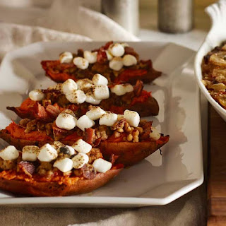 Twice-Baked Sweet Potatoes with Pecan-Bacon Streusel and Marshmallows