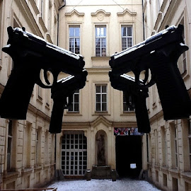 by Jim Gans - Artistic Objects Other Objects ( ludwigmuseum, budapest, europe, art, followme, museum, modernart, travel, jimgans, avantgarde, military, sculptures, politics, guns, exhibits, contemporary art, weapons, contemporaryart )