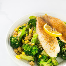 Blackened Tilapia with Veggie and Quinoa Saute