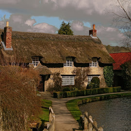 This Old Cottage by Ron Jnr - Buildings & Architecture Homes ( footpath, stream, summer day, blue sky, old world home, yorkshire, old home, cloud, beck, walkway, thornton le dale, thatched cottage )