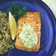 Grilled Salmon Fillets with a Lemon, Tarragon, and Garlic Sauce