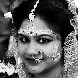 Only once in a lifetime.... by Ambarish Chatterjee - Wedding Bride ( moumita chatterjee, woman, b&w, portrait, person )