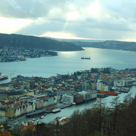 Bergen by Sofia Costa - City,  Street & Park  Vistas ( bergen, sky, views, street, city )