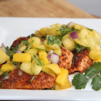 Chili Salmon w/ Pineapple Mango Salsa...So good!