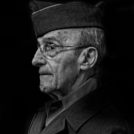 It still fits ...... by Michael Wolfe - People Portraits of Men ( portrait of man in army uniform, black and white, old man, badge, hat,  )