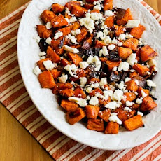 Roasted Sweet Potatoes and Red Onions with Feta